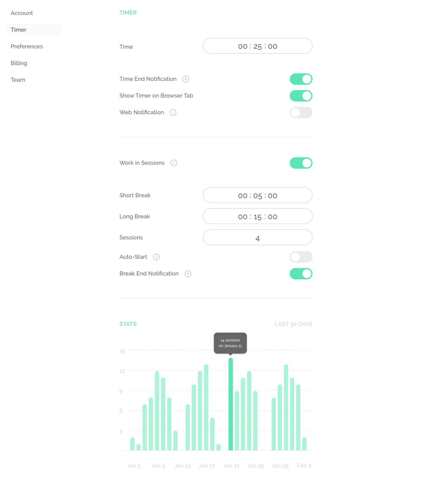 Noisli Timer Settings